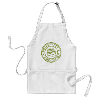 Birthday Boy -rubber stamp effect- green Adult Apron