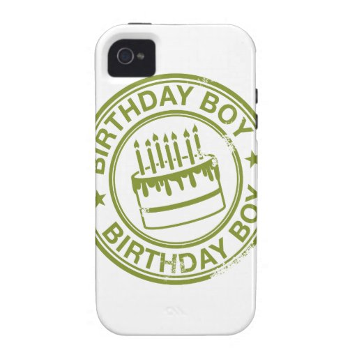 Birthday Boy -rubber stamp effect- green Vibe iPhone 4 Cover