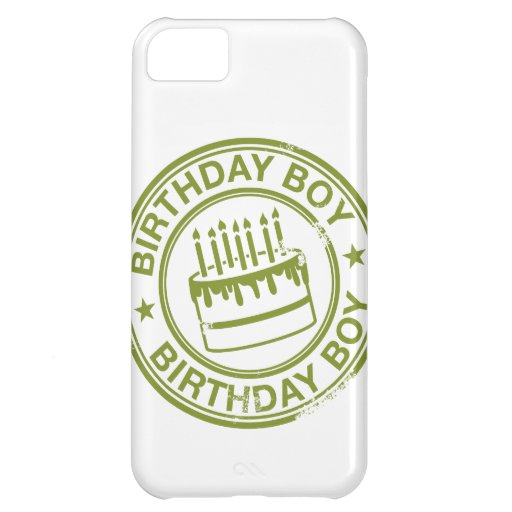 Birthday Boy -rubber stamp effect- green iPhone 5C Cases