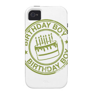Birthday Boy -rubber stamp effect- green iPhone 4/4S Covers