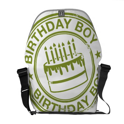 Birthday Boy -rubber stamp effect- green Commuter Bags