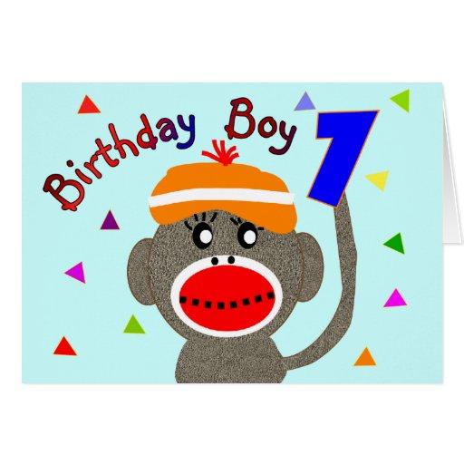 Birthday BOY Sock monkey 1 year old Greeting Cards