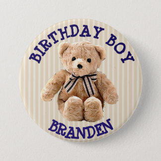 Birthday Boy Tan and Blue Teddy Bear Button