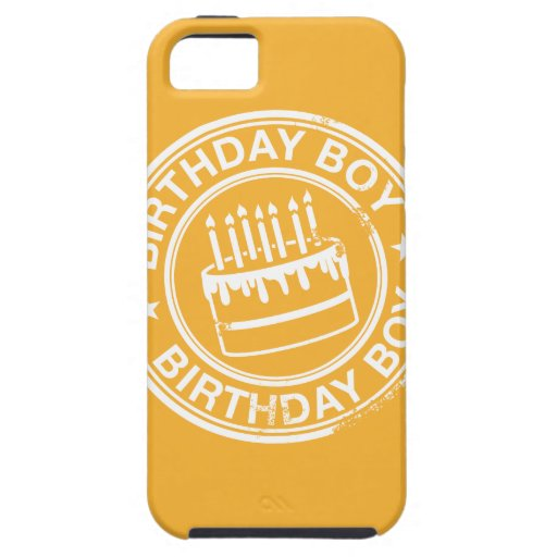 Birthday Boy -white rubber stamp effect- iPhone 5 Cases