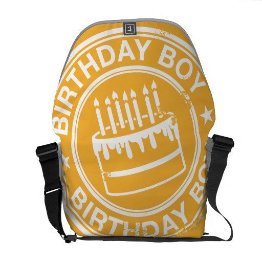 Birthday Boy -white rubber stamp effect- Messenger Bag