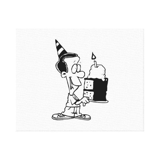 Birthday Boy with Cake Canvas Prints