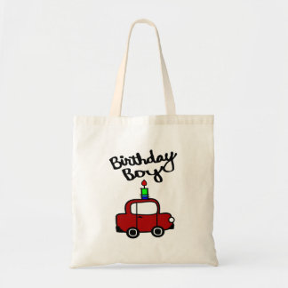 Birthday Boy With Candle And Red Car Budget Tote Bag