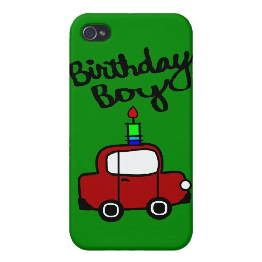 Birthday Boy With Candle And Red Car iPhone 4 Case
