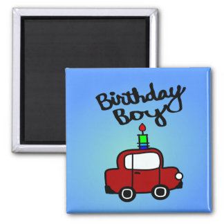 Birthday Boy With Candle And Red Car Square Magnet