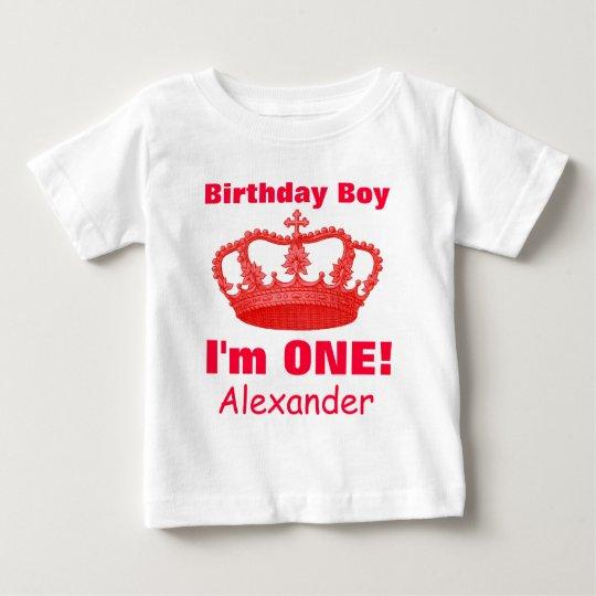 Birthday Boy with Crown I'm ONE! Custom Name