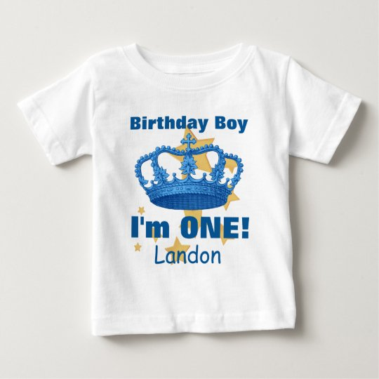 Birthday Boy with Crown I'm ONE! Custom Name