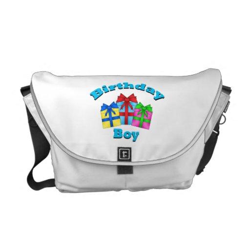 Birthday boy with presents messenger bag