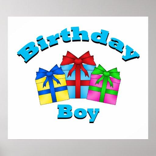 Birthday boy with presents print