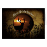 BIRTHDAY BROTHER - DEER HUNTER -sunset Cards