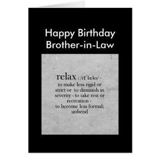 Birthday Brother-in-Law definition Relax Humour Greeting Card