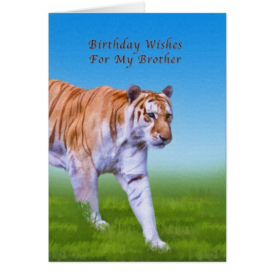 Birthday, Brother, Tiger Walking Card