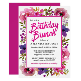 Birthday Brunch Colorful Modern Floral Watercolor Card
