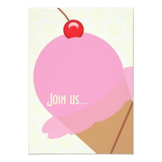 Birthday bubble gum ice cream party invitation
