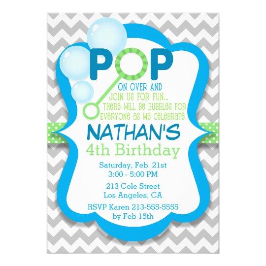 Birthday Bubble Pop Blue & Green Party Invitation