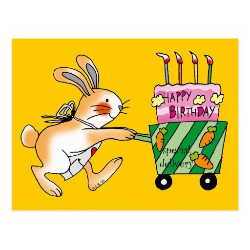 Birthday Bunny Cake Post Cards