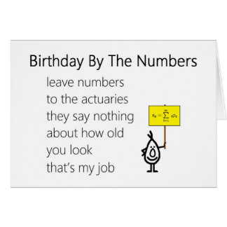 Birthday By The Numbers - a funny birthday poem Card