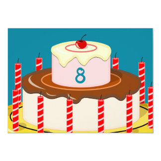 Birthday Cake 11 Cm X 16 Cm Invitation Card