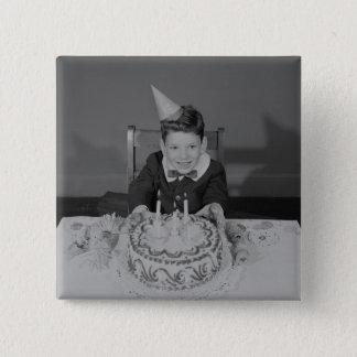 Birthday Cake 15 Cm Square Badge