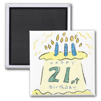 Birthday Cake 21st Birthday Gifts Square Magnet