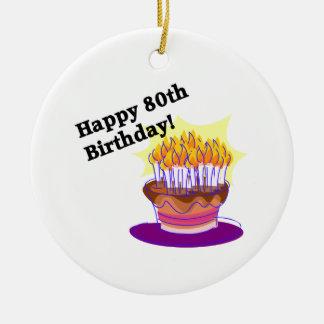 Birthday Cake 80th Round Ceramic Decoration