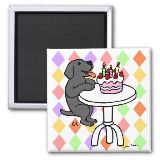 Birthday Cake Black Labrador Cartoon Magnets