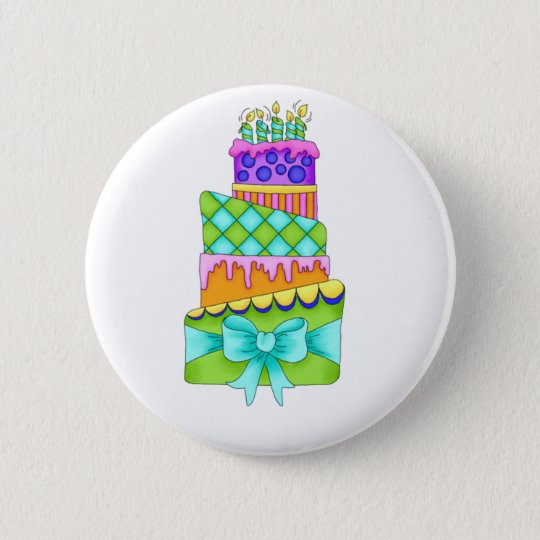 Birthday Cake Button - (Plain)
