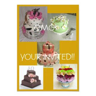 birthday cake, cake yummy, flower cake, Cake1, ... 13 Cm X 18 Cm Invitation Card