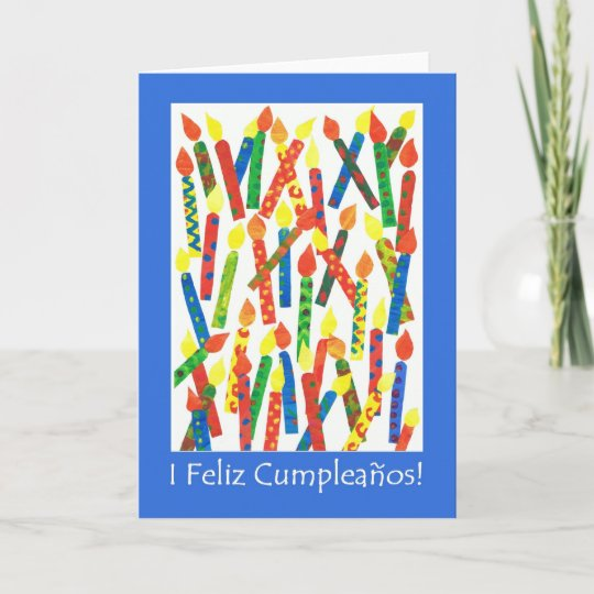 Birthday Cake Candles Card Spanish Greeting