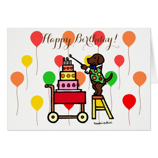 Birthday Cake Candles Chocolate Labrador Card