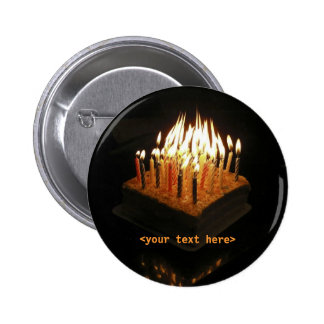 Birthday cake candles lit, <your text here> button