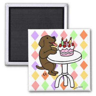 Birthday Cake Chocolate Labrador Cartoon Fridge Magnets