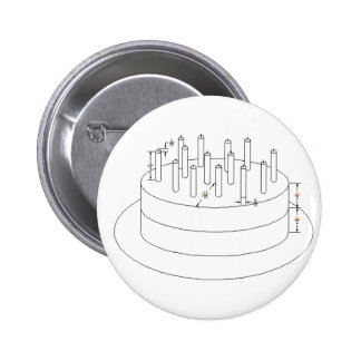 Birthday Cake - Drafted Architectural Style 6 Cm Round Badge