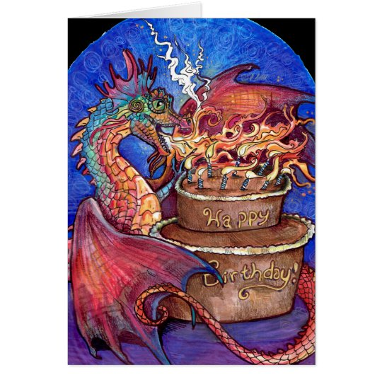 Birthday Cake Dragon Card