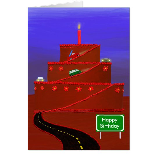 Birthday cake mountain card