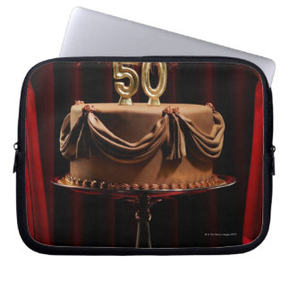 BIrthday Cake on Stage with number 50 candles Laptop Sleeve