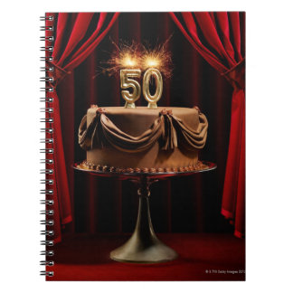 BIrthday Cake on Stage with number 50 candles Notebook