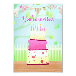 Birthday cake party invites