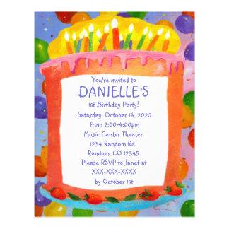 Birthday cake theme birthday party invitations 21.5 cm x 28 cm flyer