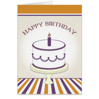 Birthday Cake with Candle - Purple and  Gold Greeting Card