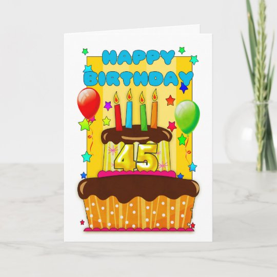 Awe Inspiring Birthday Cake With Candles Happy 45Th Birthday Card Zazzle Co Uk Personalised Birthday Cards Xaembasilily Jamesorg