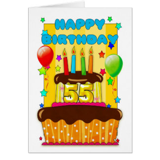 birthday cake with candles - happy 55th birthday card
