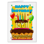 birthday cake with candles - happy 90th birthday greeting card