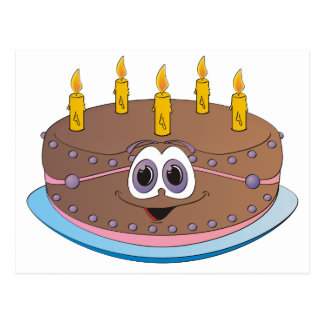 Birthday Cake with Gold Candles Cartoon Postcard