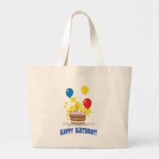 Birthday Cake With One Candle Lit And Balloons Jumbo Tote Bag