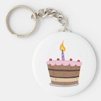 Birthday Cake With One Candle Lit Key Ring